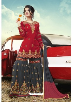 Red And Grey Party Wear Satin Sharara Suit