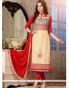 Artistic Cream And Red Georgette Churidar Salwar Kameez
