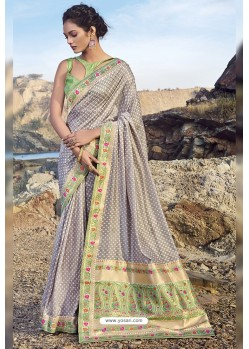 Grey Chanderi Silk Printed Saree