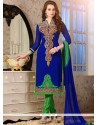 Vibrant Embroidered Work Blue Churidar Salwar Kameez