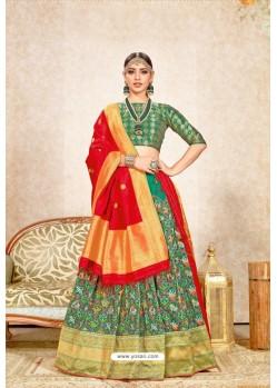 Forest Green Banarasi Silk Jacquard Worked Lehenga Choli
