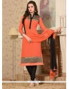 Splendid Zari Work Georgette Orange Churidar Salwar Suit