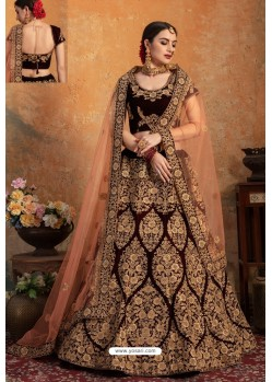 Fab Maroon Pure Velvet Zari Worked Bridal Lehenga Choli