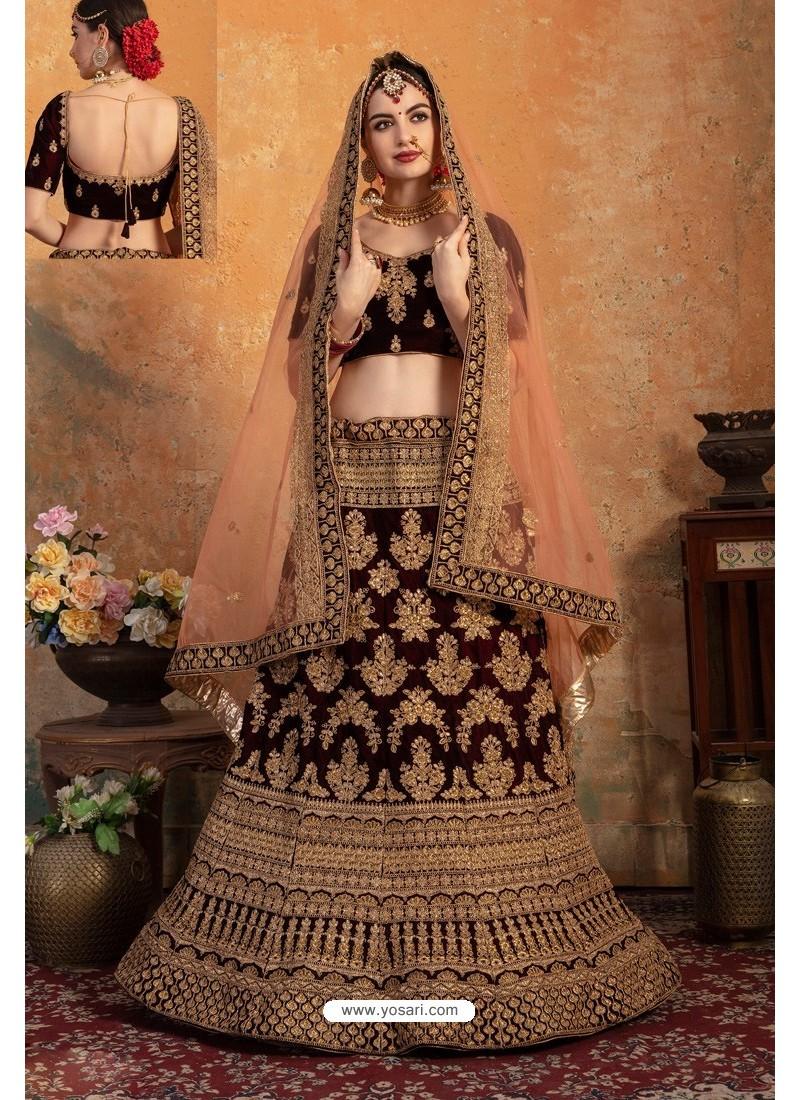 Pretty Maroon Pure Velvet Zari Worked Bridal Lehenga Choli
