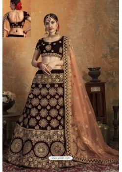 Superb Maroon Pure Velvet Zari Worked Bridal Lehenga Choli