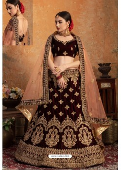 Amazing Maroon Pure Velvet Zari Worked Bridal Lehenga Choli