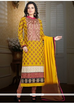 Elite Yellow Shaded Faux Georgette Churidar Suit