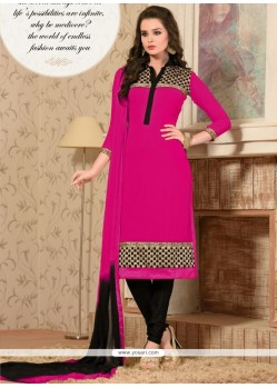 Dashing Georgette Lace Work Churidar Salwar Kameez