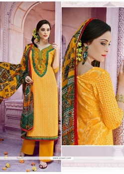 Astonishing Embroidered Work Cotton Yellow Designer Pakistani Suit