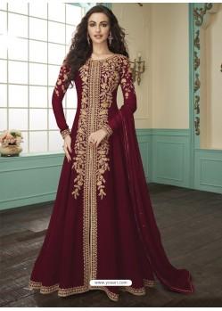 Maroon Georgette Embroidered Anarkali Suit