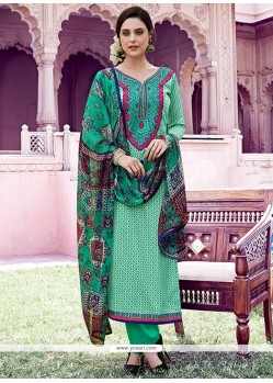 Lordly Cotton Green Print Work Designer Pakistani Salwar Suit