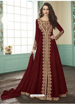 Maroon Georgette Designer Anarkali Suit