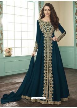 Teal Blue Georgette Designer Anarkali Suit