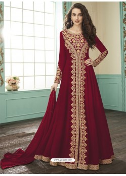 Red Georgette Designer Anarkali Suit