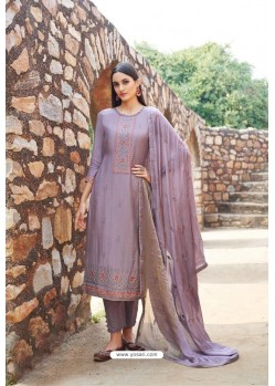 Lavender Muslin Embroidered Straight Suit