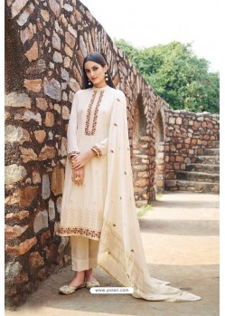 Off White Muslin Embroidered Straight Suit