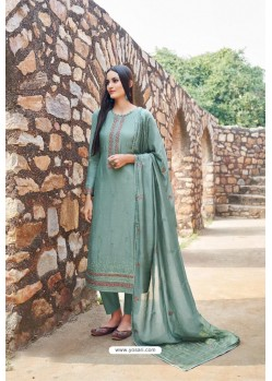 Grayish Green Muslin Embroidered Straight Suit