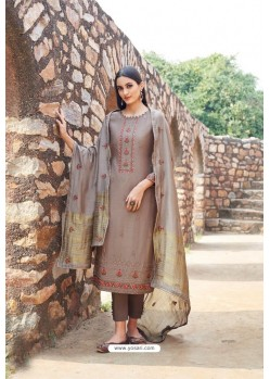 Light Brown Muslin Embroidered Straight Suit