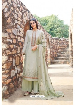 Olive Green Muslin Embroidered Straight Suit