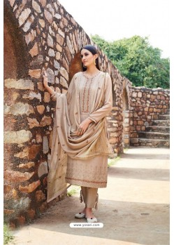 Beige Muslin Embroidered Straight Suit
