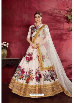 Cream Art Silk Digital Printed Lehenga Choli