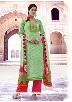 Sea Green Cotton Designer Pakistani Suit