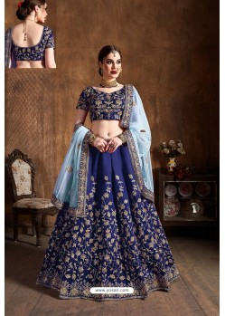 Navy Blue Raw Silk Designer Embroidered Lehenga
