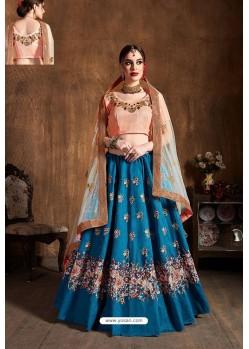 Teal Blue Raw Silk Designer Embroidered Lehenga