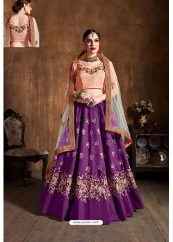 Purple Raw Silk Designer Embroidered Lehenga