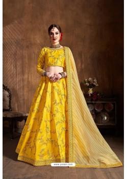 Yellow Mulberry Silk Designer Embroidered Lehenga