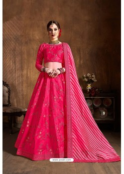 Rani Mulberry Silk Designer Embroidered Lehenga