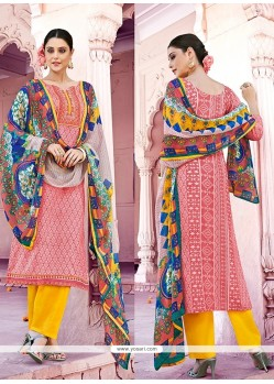 Hypnotizing Peach Print Work Cotton Designer Pakistani Suit