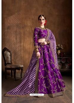 Purple Mulberry Silk Designer Embroidered Lehenga