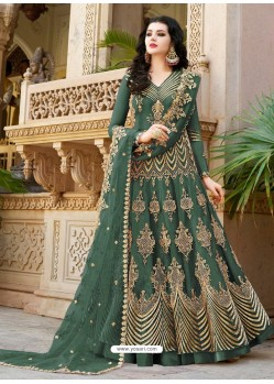 Mehendi Embroidered Net Designer Anarkali Suit