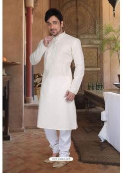 Off White Cotton Kurta Pajama