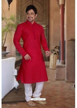 Red Cotton Kurta Pajama