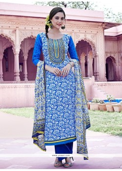 Modest Cotton Blue Print Work Pakistani Suit