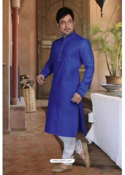 Royal Blue Cotton Kurta Pajama