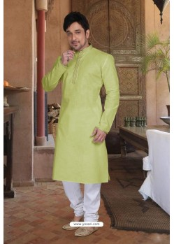 Parrot Green Cotton Kurta Pajama