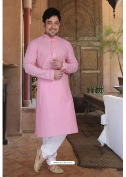 Pink Cotton Kurta Pajama