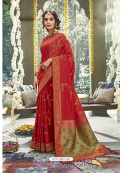 Red Cotton Designer Jacquard Worked Saree