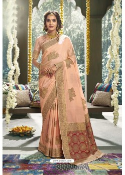 Peach Cotton Designer Jacquard Worked Saree