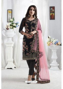 Black Georgette Floral Embroidered Straight Suit