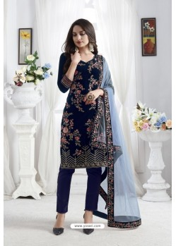 Navy Blue Georgette Floral Embroidered Straight Suit