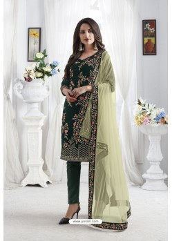 Dark Green Georgette Floral Embroidered Straight Suit