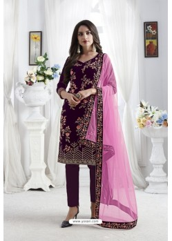 Deep Wine Georgette Floral Embroidered Straight Suit