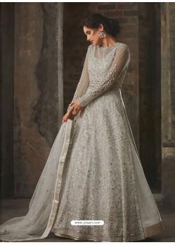 Light Grey Soft Net Embroidered Anarkali Suit