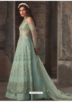 Sky Blue Soft Net Embroidered Anarkali Suit