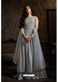 Grey Georgette Designer Party Wear Suit