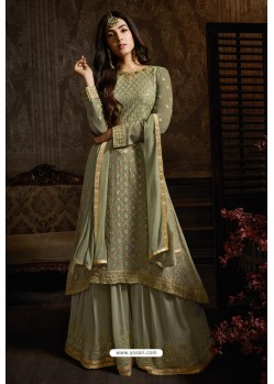 Green Georgette Designer Party Wear Suit